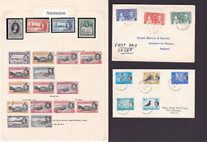 Ascension Island. Mint & used selection hinged on page + covers.