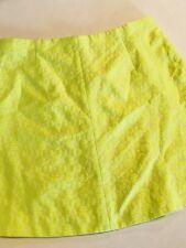 J CREW Jacquard Neon Floral A-Line Mini Size 8 Skirt Cotton Blend Lined EUC