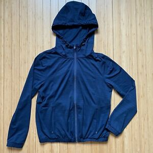 Women's Athleta S Small Pacifica Relaxed UPF Jacket Hoodie Sun Layer Navy 407985