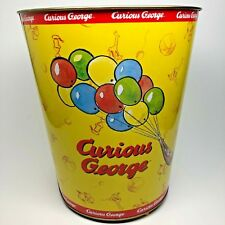 Curious George Metal Trashcan Garbage Can Curious George With Balloons