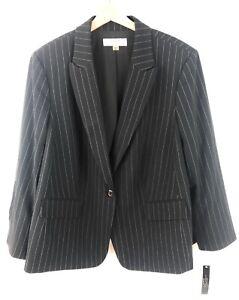 Tahari by ASL Womens Plus Size Striped Jacket One Button Black 20W