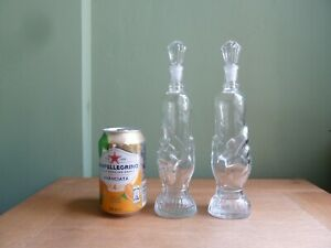 2 Antique Figural Glass Bottles, Base Shaped as a Hand,  h23,5cm
