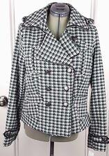 Jou Jou Womens L Black Green White Herringbone Jacket Coat Long Sleeve NWT