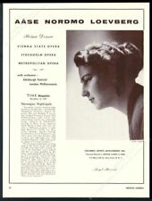 1959 Aase Nordmo Loevberg photo opera recital tour booking trade print ad