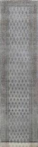 Paisley Semi Antique Overdyed Gray Tebriz Distressed Handmade Runner Rug 2'x15'