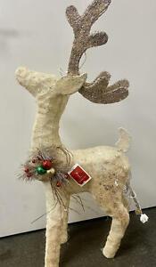 "37""H Sparkling Glittered Elegant Sisal Reindeer w/ Holly Berry Wreath ~CHRISTMAS"