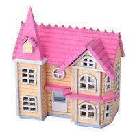 DIY Dollhouse Mini Pink House Cottage Wooden Toy Doll's Accessory Set AaGVx