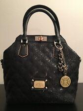 GUESS Juliet Turn-Lock Satchel Bag Black Leather
