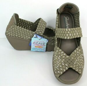 Skechers Memory Foam Stretch Weave Brown Wedge Sandal Shoe Peep Toe Size 8 NWT