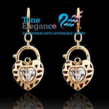 18k yellow gold GF vintage style heart padlock solid hoop dangle earrings