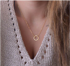GOLD CIRCLE RING PENDANT NECKLACE CHARM CHAIN JEWELLERY INFINITY ETERNITY KARMA