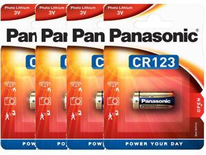 4 x Panasonic CR123 CR17345 CR123A Lithium Photo Batterie 3V im Blister