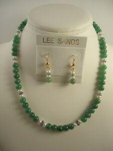 Lee Sands Aventurine w Faceted Iolite & Pearl NK & ER set