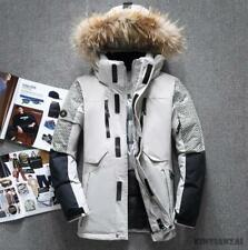 Mens Short Warm Duck Down Coat Detachable Hooded Winter Parka Stand Fur Collar