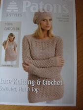 Nuevo Patons Encaje Tejer & Crochet Sweater Algodón Dk Patrón Tallas 6/8 - 22/24