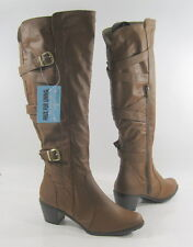 """NEW Tan 2.5"""" High Heel Sides Buckles Back Straps Sexy Knee Boots Size 9"""