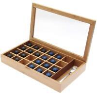 NESPRESSO BAMBOO COFFEE CAPSULE ORGANIZER/DISPLAY BOX - HOLDS 24 CAPSULES & MORE