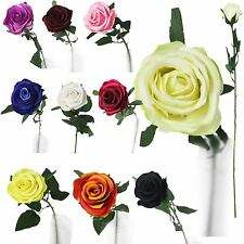 Single Premium Rose Bud - Artificial Silk Funeral Flowers with Leaves Quality