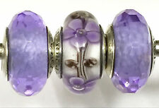 3 PC  Authentic Pandora 925 ale silver beads  charm  glass purple flower clear
