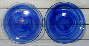 "NEW ARTISTIC ACCENTS 2 COBALT BLUE SWIRL SALAD DESSERT PLATES 8"" DIAMETER"