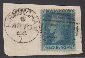"""GB QV 2d Blue SG45 Plate 9 """"RF"""" Very Good Used Stamp on a Small Piece Birmingham"""