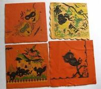 1940s Era of 4 Different Halloween Party Napkins Witch Cat Owl Pumpkin