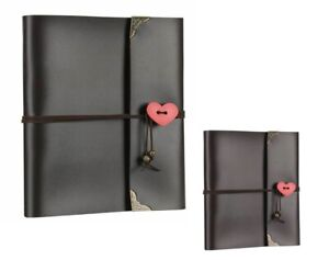 Vintage Leather Photo Album S/M/L DIY Scrapbooks Black Pages Travel Record Books