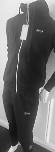 HUGO BOSS ZIP HOODED TRACKSUIT - NEW FOR A/W21' - M & L - BLACK/SILVER £££%%%