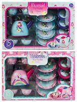 Childrens Tin 15 Piece Tea Set Teaset Toy Playset - Mermaid / Unicorn
