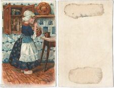 Chromo trade card folklore costume fille carreaux de Delft PAYS BAS Holland 439R