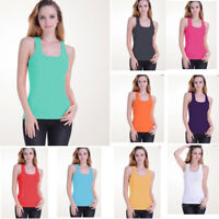 Womens Tank Top Cotton Heavy Weight  A-Shirt Basic Workout One Size elastic vest