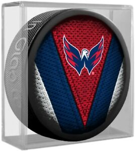 Washington Capitals NHL Team Logo Stitch Souvenir Hockey Puck (in Display Cube)