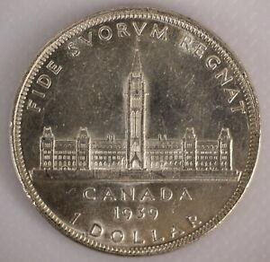 CANADA 1939 .800 SILVER KING GEORGE VI DOLLAR COIN - D