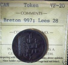 CANADA TOKEN  BRETON # 997 ICCS LEES 28 Ships,Colonies & Commerce. VF
