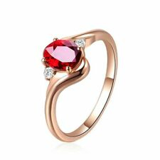 Wedding Party Red Gemstone Ring Gift Women Adjustable Rings 925 Sterling Silver