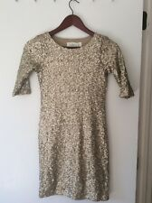 Sz S Abercrombie & Fitch Gold/Champagne Sequin Dress- Lined, Elbow Length Sleeve