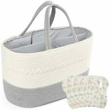 Baby Diaper Caddy Organizer Rope Nursery Storage Bin Cotton Portable Basket Bibs