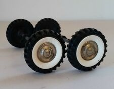 4 Structo White Wall Tires on Axels with Plastic Axel Clips. VERY GOOD