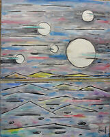 JUMPING ON JUPITER 16x20 canvas oil painting abstract original signed Crowell