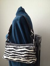 The Sak Fun Zebra Stipe Knit Baguette Style Shoulder Bag   EUC  LOWER $$$