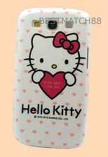 FOR SAMSUNG GALAXY S3 kitten hello kitty WHITE HOT PINK W/ HEART CASE  S iii /