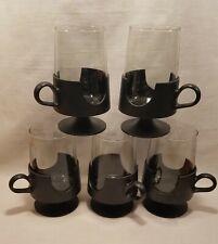 Corning Glas-Snap Vintage Mugs Black Cups Set of 5 Glassware Large 12oz Hot Cold