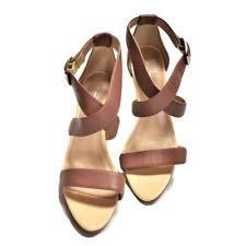 Shoes of Prey 38 Stiletto Platform Sandals Brown Leather Cross Strap Buckle NEW
