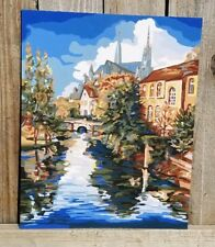 Paint by Number Painting Sleepy Village Complete 16 X 20 Church River Bridge