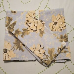 Pottery Barn Hand Towels ~ Blue/Green/Yellow Florals~ Lot of 3 Portugal Cotton