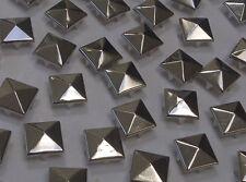 CraftbuddyUS 100 x 12mm Silver Square Pyramid Studs Goth Leather craft Denim