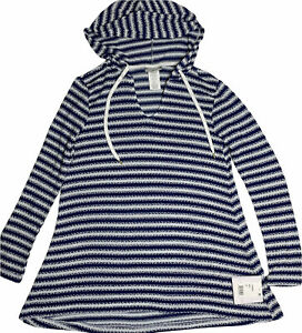 La Blanca Striped Swimsuit Coverup Hoodie Size XS Blue & White Pullover Top NEW