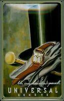 Universal Geneve Clock Blechschild Schild Blech Metall Metal Tin Sign 20 x 30 cm