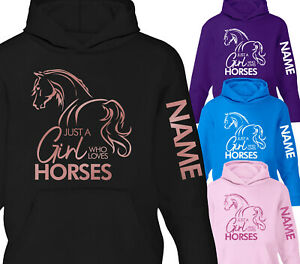 Childrens Personalised Horse Hoodie Equestrian Riding Glitter Hoody Arm Print