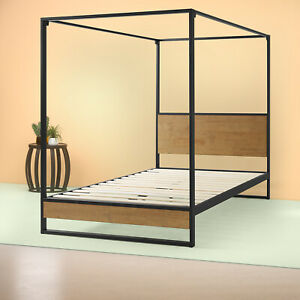 Zinus Suzanne Canopy Metal & Wood Platform Bed Frame / No Box Spring Needed